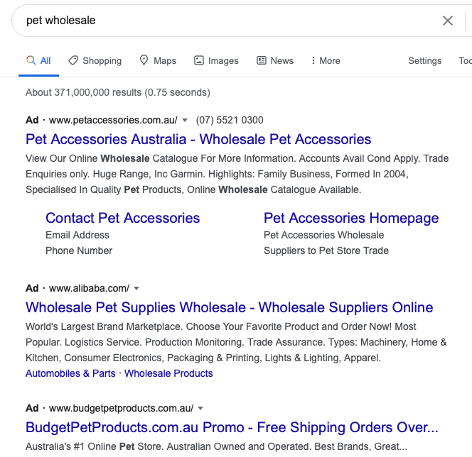 pet wholesale ads on google