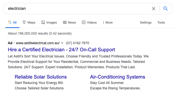 Google search for electrician