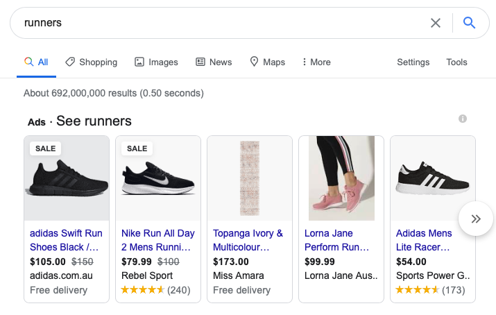 Google shopping search for runners