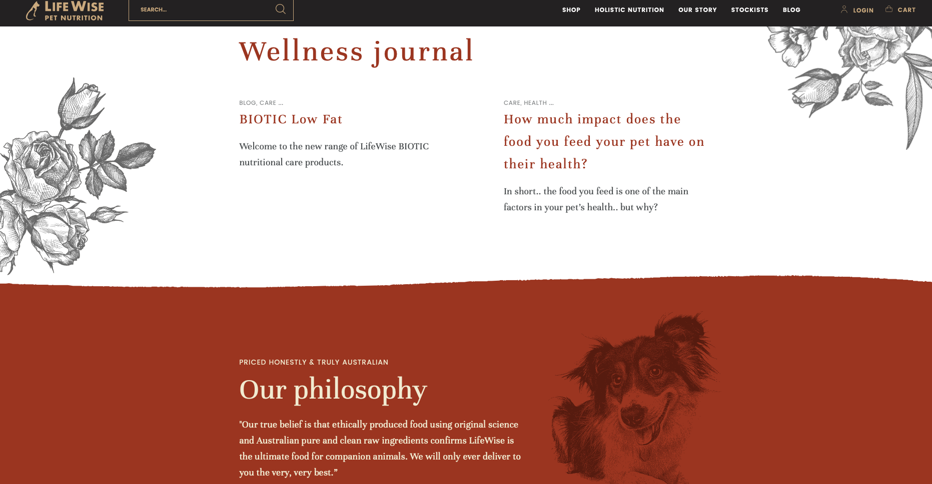 Life Wise Pet Nutrition home page