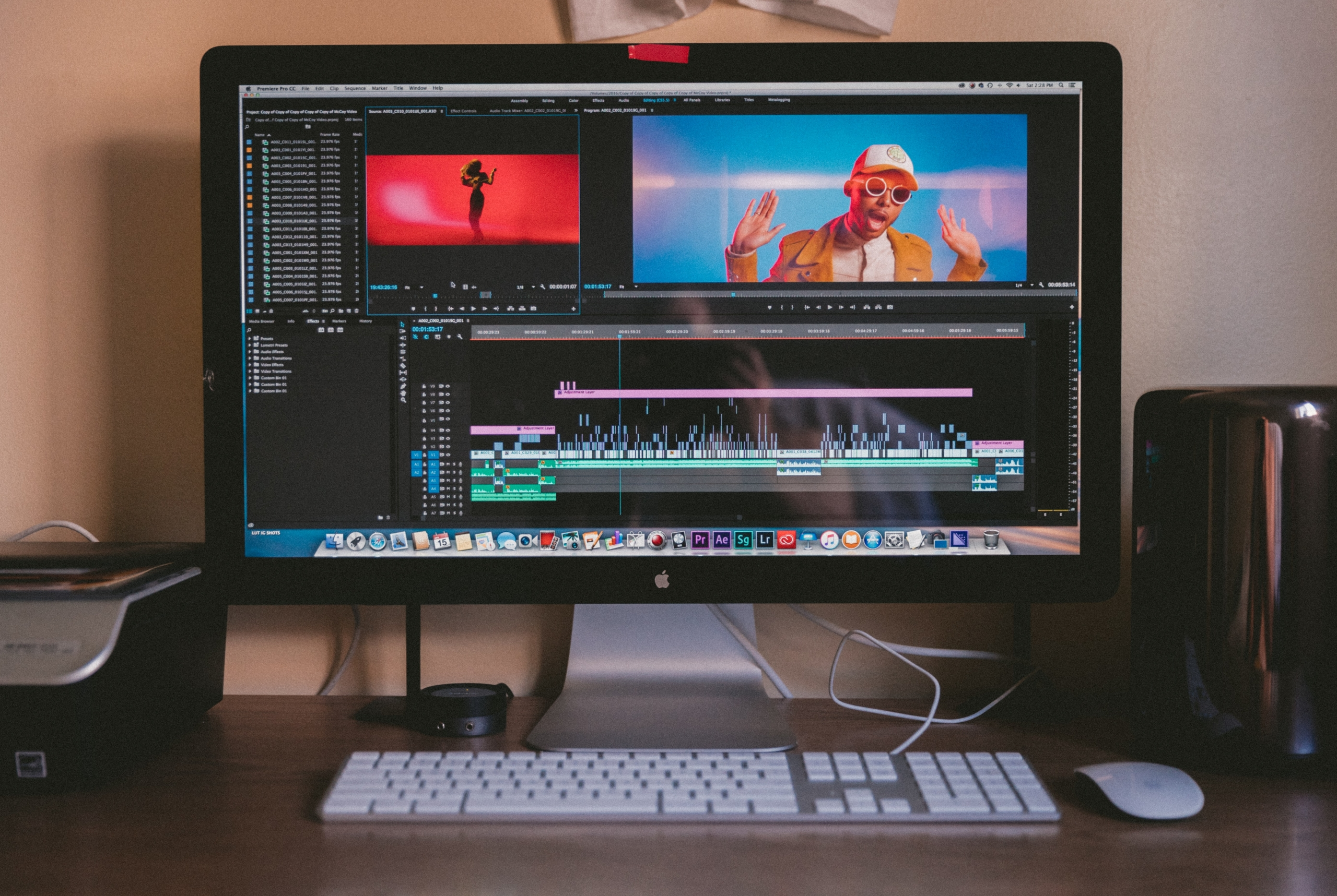 video being edited on computer