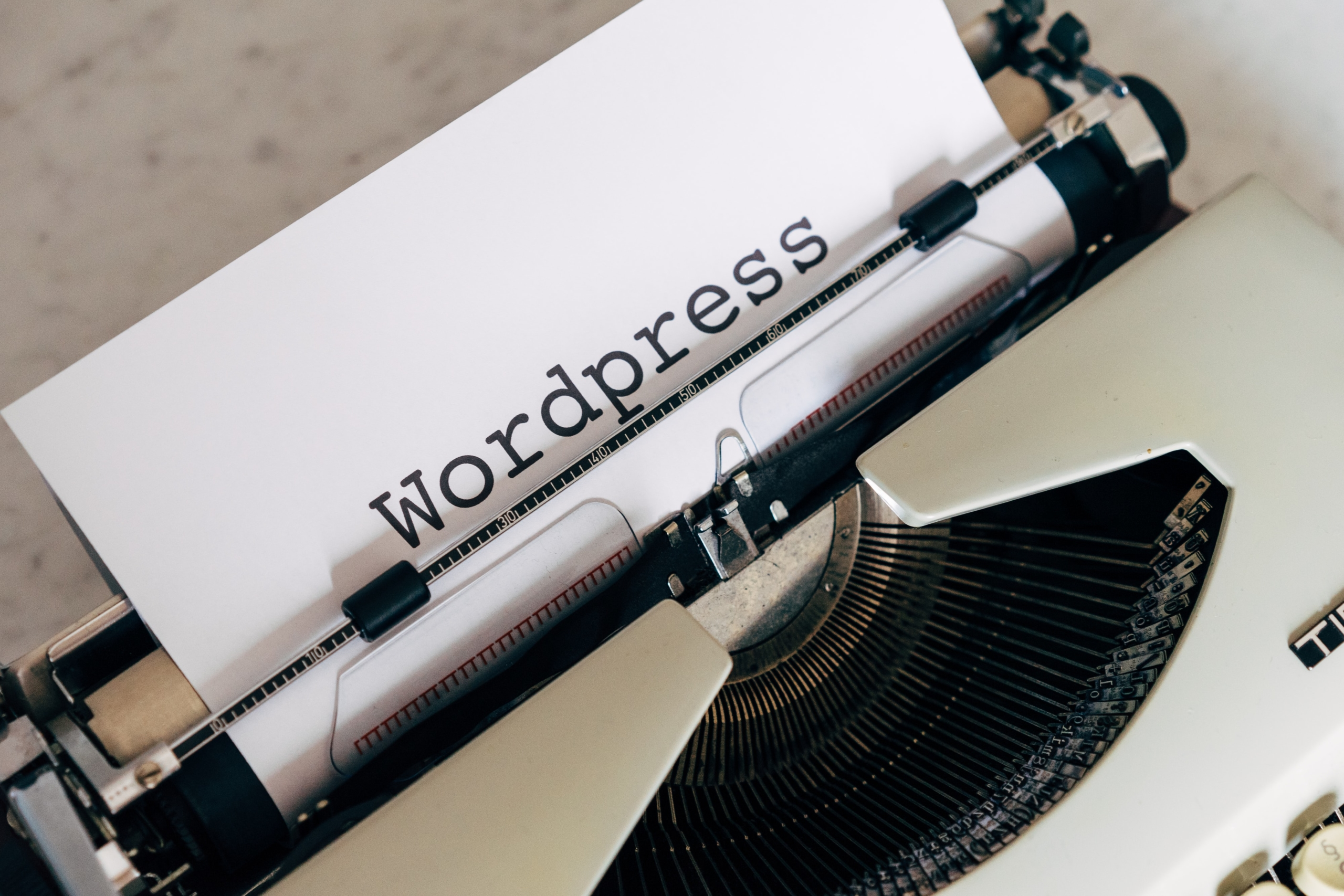 Wordpress written on paper on typewriter