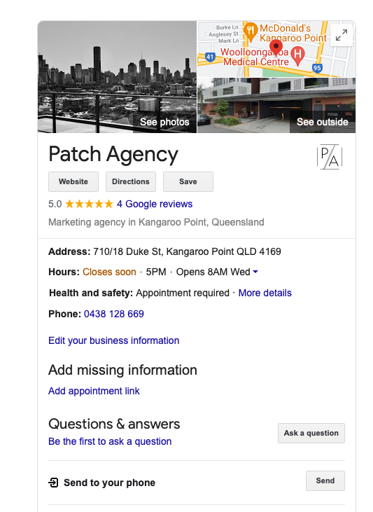 patch agency google my business